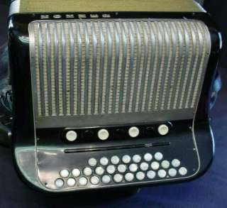 VINTAGE HOHNER OUVERTURE BLACK ACCORDION W/ CASE L@@K