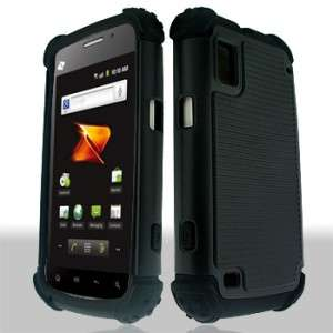 BLACK TRIPLE LAYER COMBO HYBRID IMPACT HARD CASE SKIN PHONE COVER ZTE