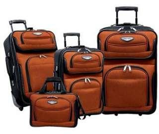 Luggage 4 pc Set wheeled rolling UPright suitcase tote  Dark Orange