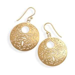 Brushed 14 Karat Gold Plated Earrings Jewelry