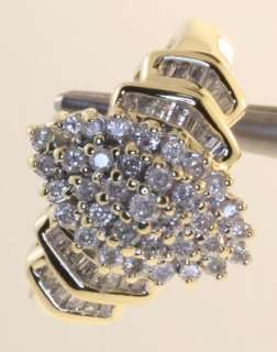 10K YELLOW GOLD DIAMOND CLUSTER RING 34 ROUND DIAMONDS .51CTTW 28