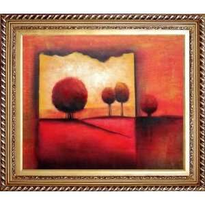 Modern Red Landscape Oil painting, with Exquisite Dark