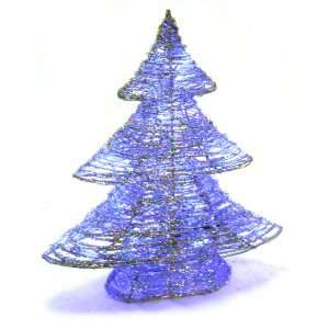 Tidings 19 Inch Silver Rattan Christmas Tree with 28 Blue LED Lights