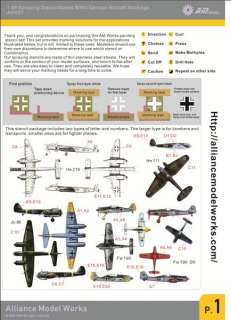 Model Works 148 WWII German Aircraft Markings Stencils, AW001