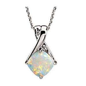 Magnificent Opal & Diamond Gemstone Gold Pendant set in 14