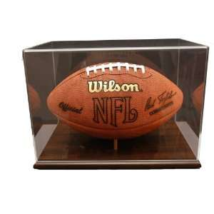 Walnut Finished Base Football Display With NFL Team Logo
