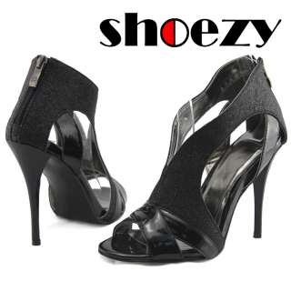 SHOEZY womens black glitter dress peep toe cut high stiletto heels