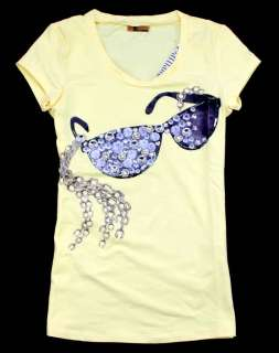 New Womens/Girls Diamonds Sun Glasses T Shirt/Top White/Black/Yellow
