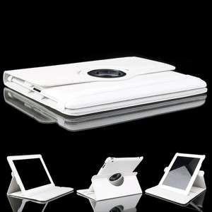 Leather Case Smart Cover With Swivel Stand White for The New iPad