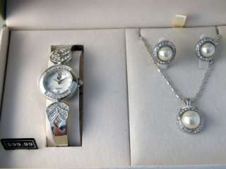 Gold Coast Silver Plated Watch, Necklace & Earrings Set  NIB