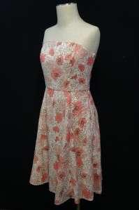 Ann Taylor LOFT Pink/Brown/White Floral Design Spaghetti Strap Dress