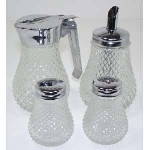 Vintage Pressed Glass Diamond Pattern 4 Piece Table Set