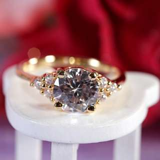 SALE Gift Fine Clear Topaz Yellow Gold GP Ladies Ring Fashion Jewelry