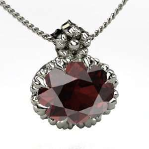 Rosette Pendant, Oval Red Garnet Sterling Silver Necklace