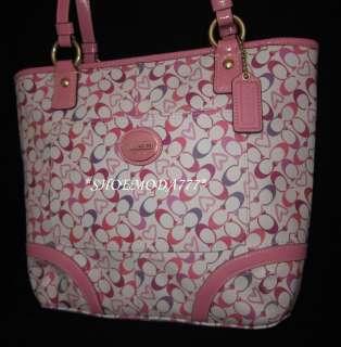 298 COACH Heritage Bias Heart Signature Tote Bag Purse Handbag Pink