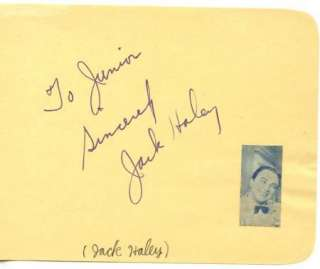 JACK HALEY VINTAGE 30s SIGNED ALBUM PAGE AUTOGRAPHED TIN MAN WIZARD
