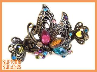 Multi Color Crystal Flying Butterfly Hair Clip Claw 138