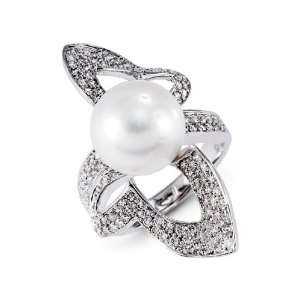 18k White Gold Natural Pearl 0.97 Ct Round Diamond Ring