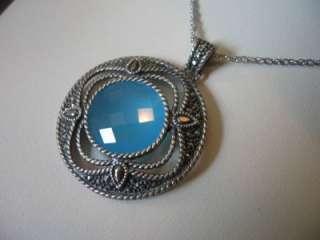 NEW $285 Judith Jack Sterling Aqua Onyx Necklace