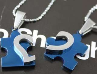 FN03 Blue Stainless Steel I Love You Heart Love Puzzle Wedding Couple