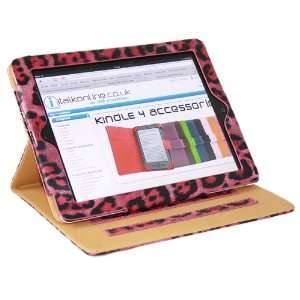 Executive PINK WHITE LEOPARD Wallet Case/Cover/Stand With SMART TILT