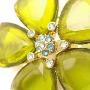 Monet Glass & Rhinestone Vintage Flower Brooch Pin