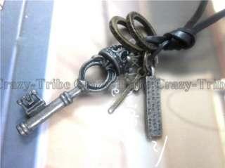 mens Unisex choker Crown Key pendant Genuine leather necklace