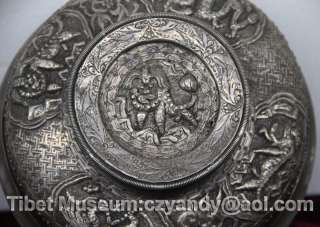 Wonderful Amazing Sacred Old Antique Tibetan Pure Silver Root Offering