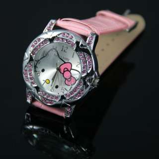 New Pink Lovely Lady Girls Crystal quartz flower style HelloKitty