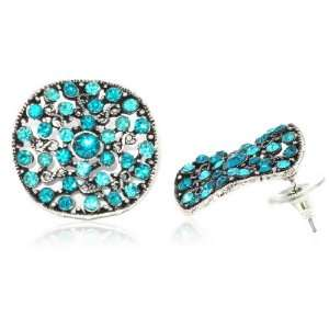 Ladies Silver Hollow Out Sapphire Charm Stud Earrings