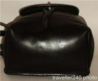 COACH Drawstring Backpack Bag Black Leather Shoulder Daypack Bookbag