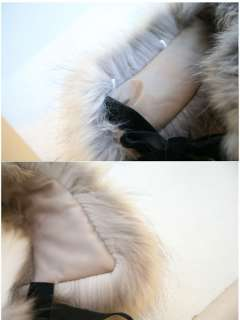 Fashion Women Lady Bow Faux Fur Scarf Boa Wrap Collar With Strips
