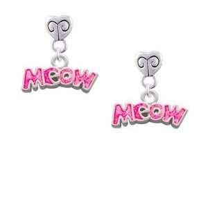 Hot Pink Glitter Meow Mini Heart Charm Earrings Arts