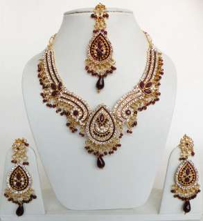 INDIA Jewelry BEAUTIFUL GOLDTONE KUNDAN MEENA BRIDAL NECKLACE EARRING