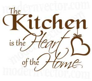 Kitchen is the Heart of the Home Vinyl Wall Quote Decal