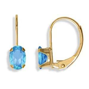 14KT Blue Topaz Leverback Earrings Gold and Diamond