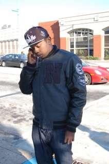 Imperious Mens N Varsity Jacket Black Grey Faux Leather Coat Winter