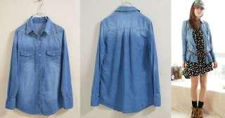 vintage Long Sleeve Punk Rivet Blue Denim Shirt Coat Jacket Imx