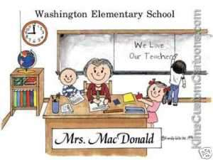 CUTE! * Personalized Teacher Cartoon Great Gift Idea!
