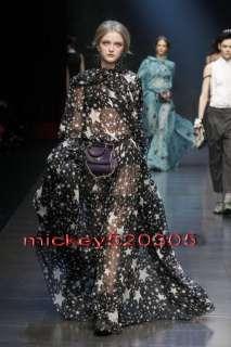 Woman Sheer Stunning Stars Printed Black Bowknot Chiffon Maxi Long