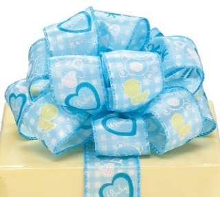 BABY BOY BLUE WIRE WIRED EDGE RIBBON SHOWER WREATH Diaper Cake