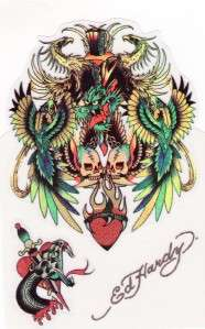 Sticker Ed Hardy Tattoo Skull Bird Snake