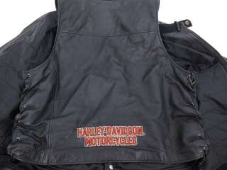 Harley Davidson Mens Black Leather Motorcycle Gear  Jacket, Vest