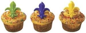 12  Multi Colored Fleur De Lis Cupcake Picks party boy scouts favors