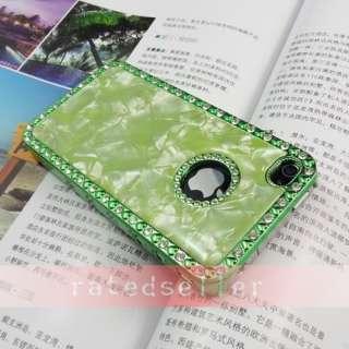 Rhinestone Diamond Marble Hard Case Cover iPhone 4 4G Green