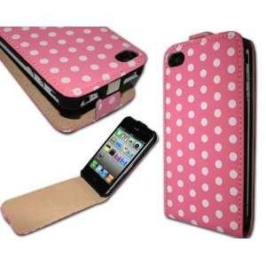 Dot Flip Leather Case Pouch Cover Holster for Apple iPhone 4 4S
