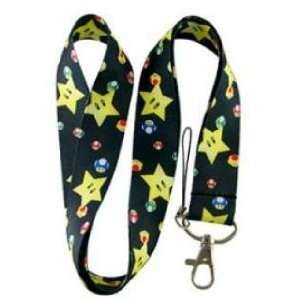 Super Marios Mushrooms & Stars neck lanyard Black   25mm