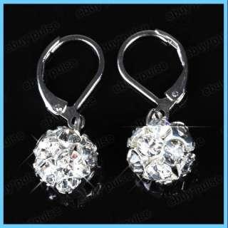 Stylish 10mm Ball Crystal Rhinestone Hook Earrings Nickel Free