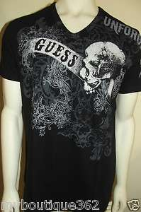 WITH TAG GUESS MENS BLACK T SHIRT WITH PRINTED GUESS LOGO LQQK