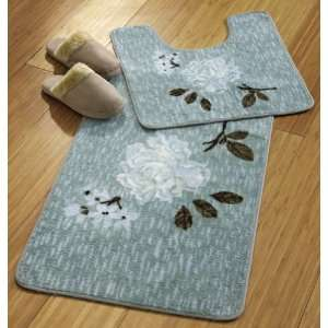 Blue Floral Peony Bath Mat Rug Set By Collections Etc